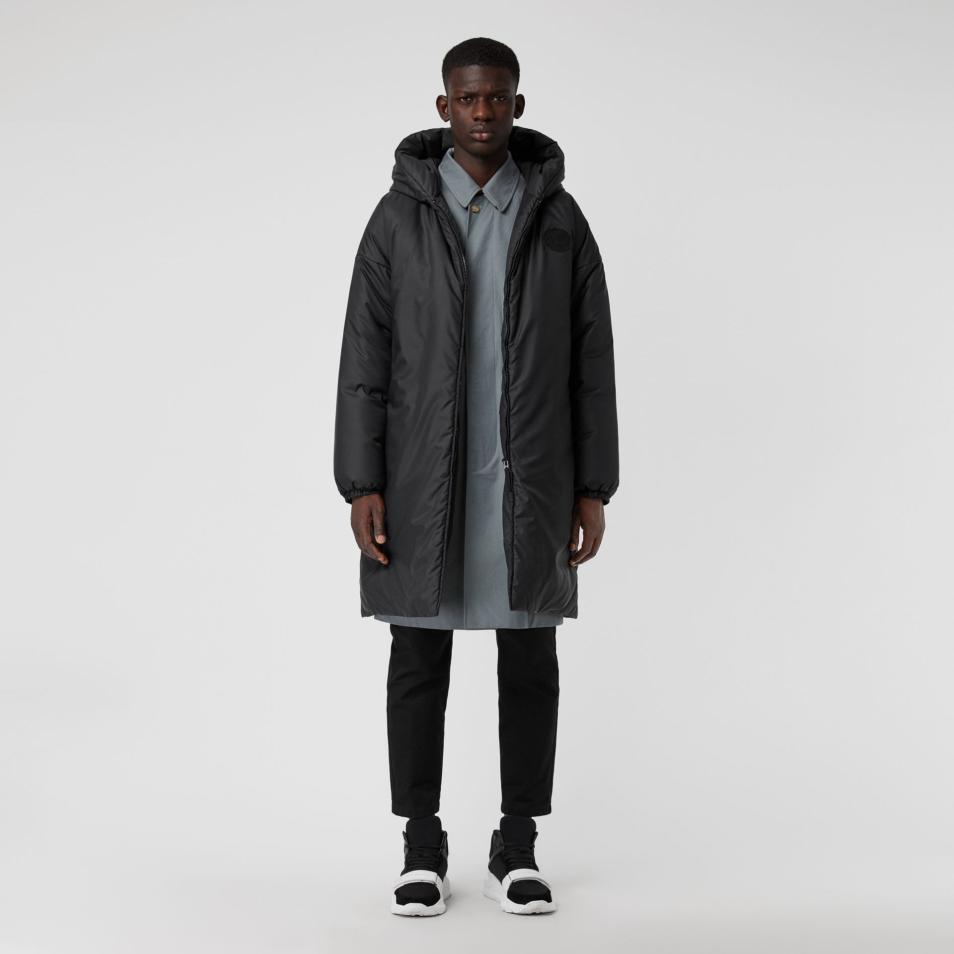 Down-filled Oversized Hooded Coat in Black - Men | Burberry United Kingdom - gallery image 0