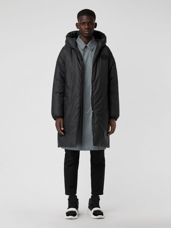 Down-filled Oversized Hooded Coat in Black