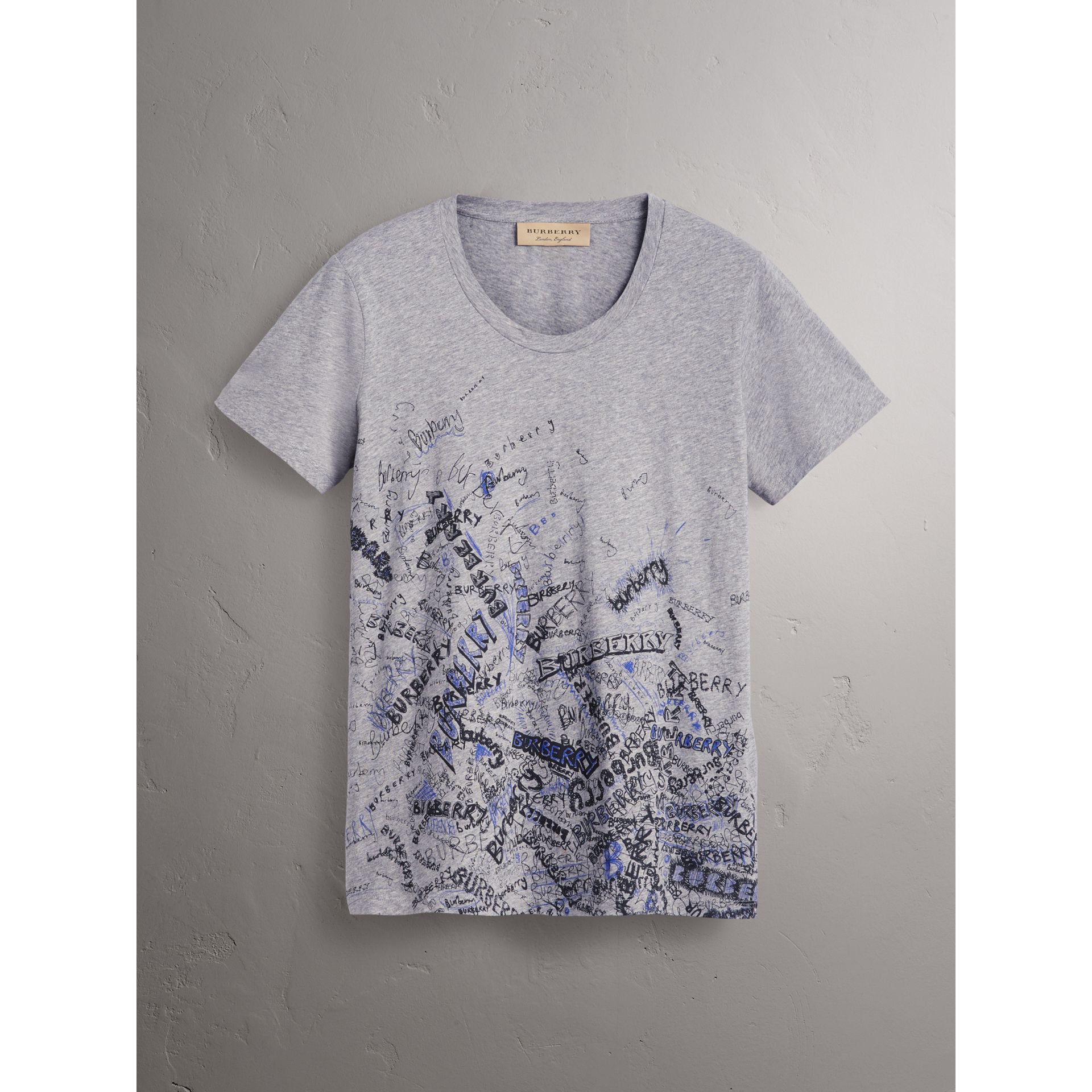 Doodle Print Cotton T-shirt in Pale Grey Melange - Women | Burberry - gallery image 3