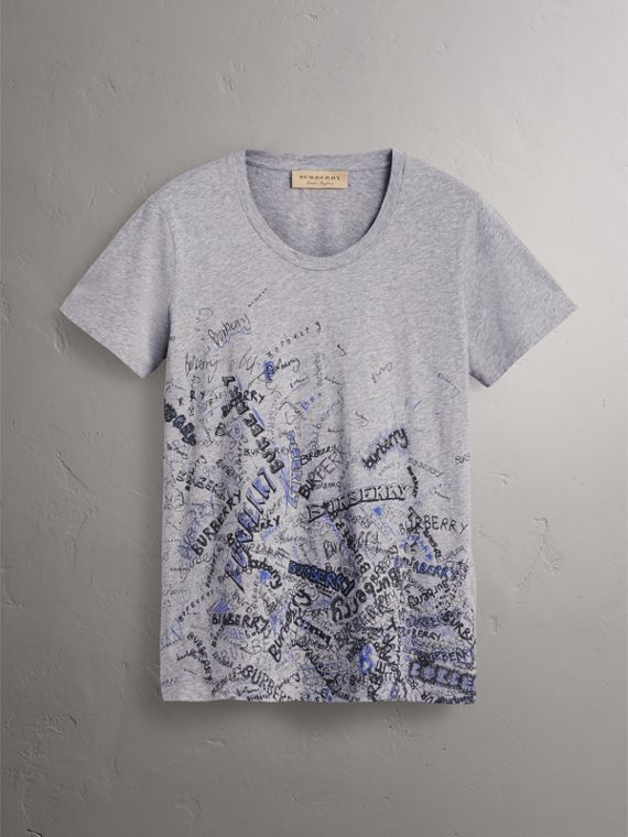 Doodle Print Cotton T-shirt in Pale Grey Melange - Women | Burberry - cell image 3