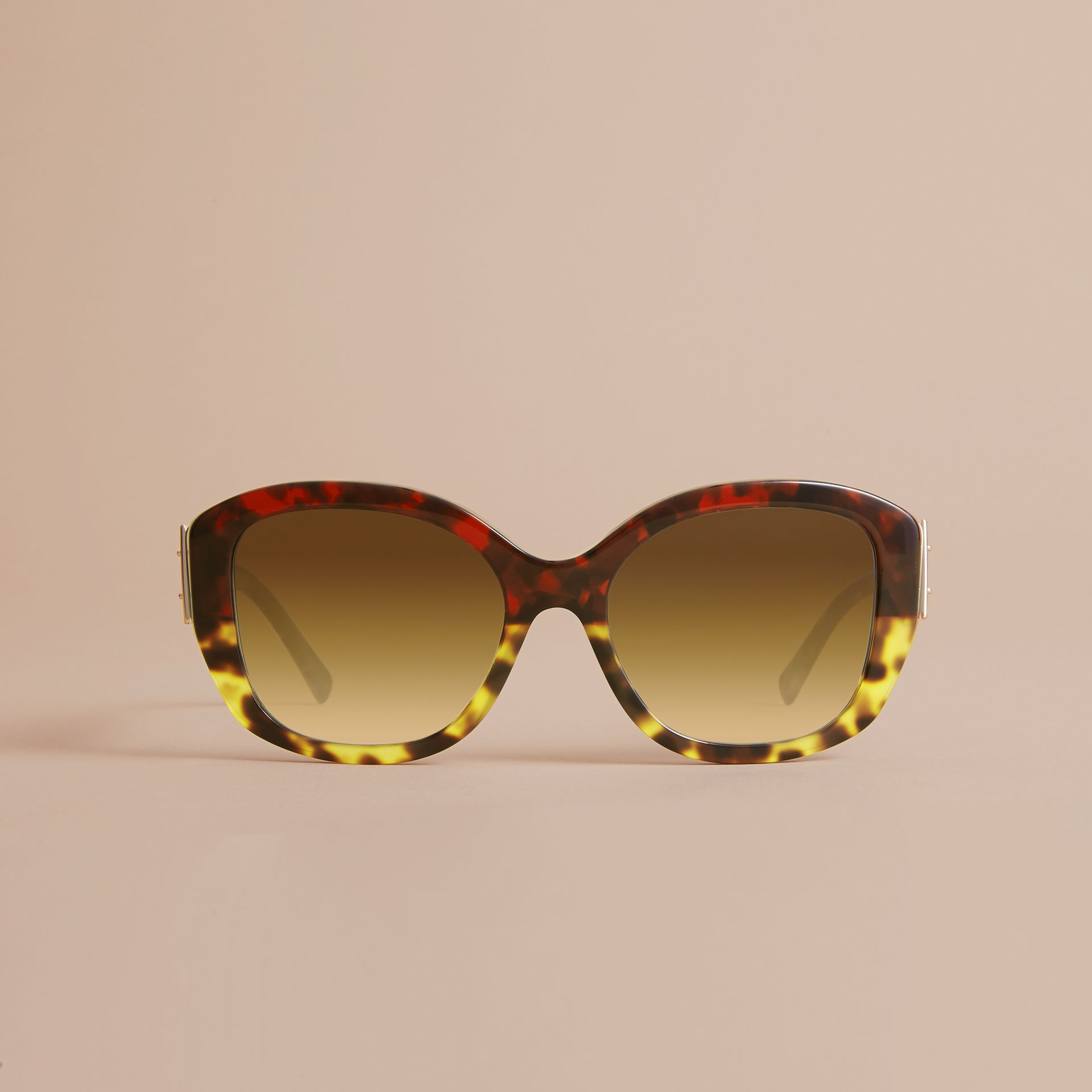 Buckle Detail Oversize Square Frame Sunglasses in Amber Yellow - Women | Burberry United Kingdom - gallery image 2