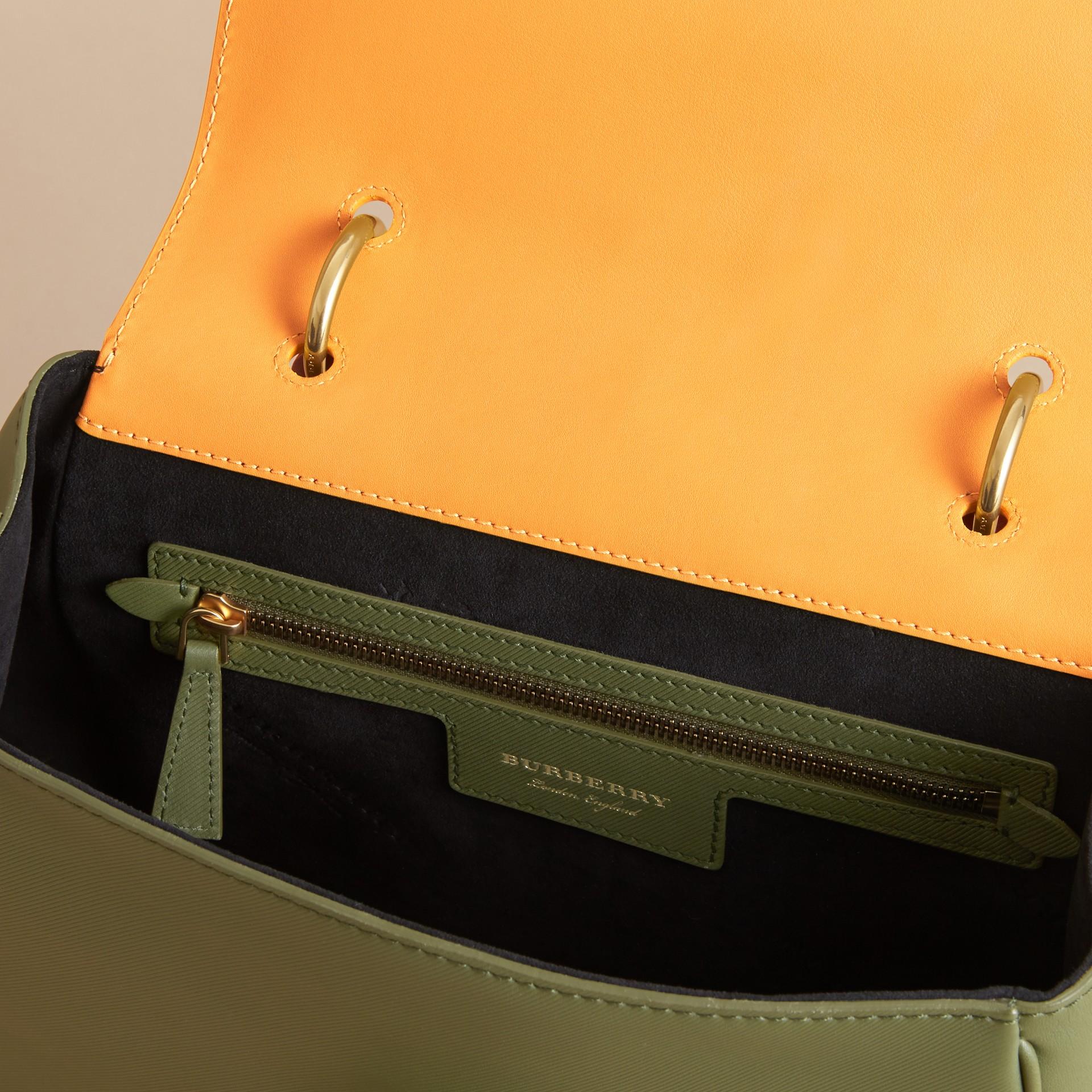 The Medium DK88 Top Handle Bag Moss Green/ochre Yellow - gallery image 6