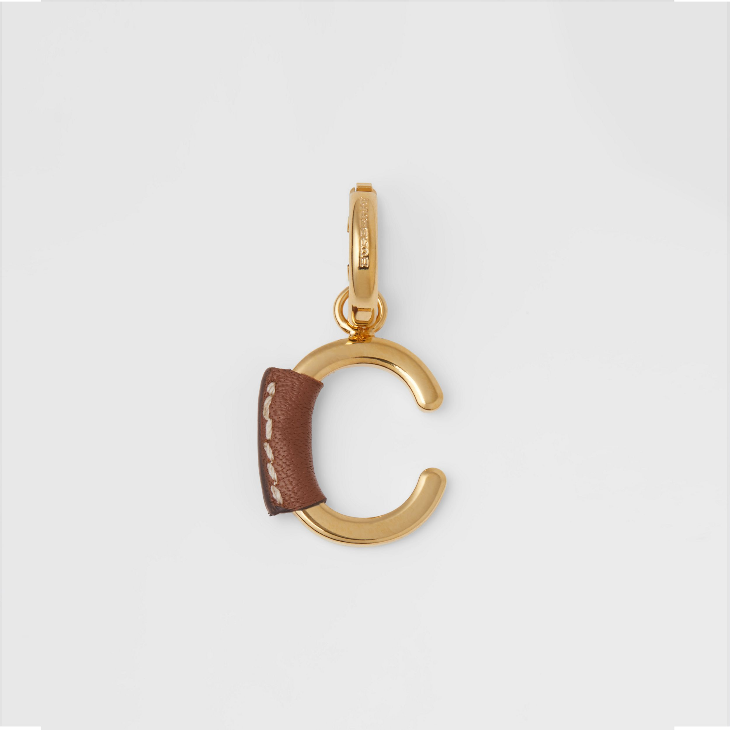 Leather-wrapped 'C' Alphabet Charm in Light Gold/tan - Women | Burberry - 1