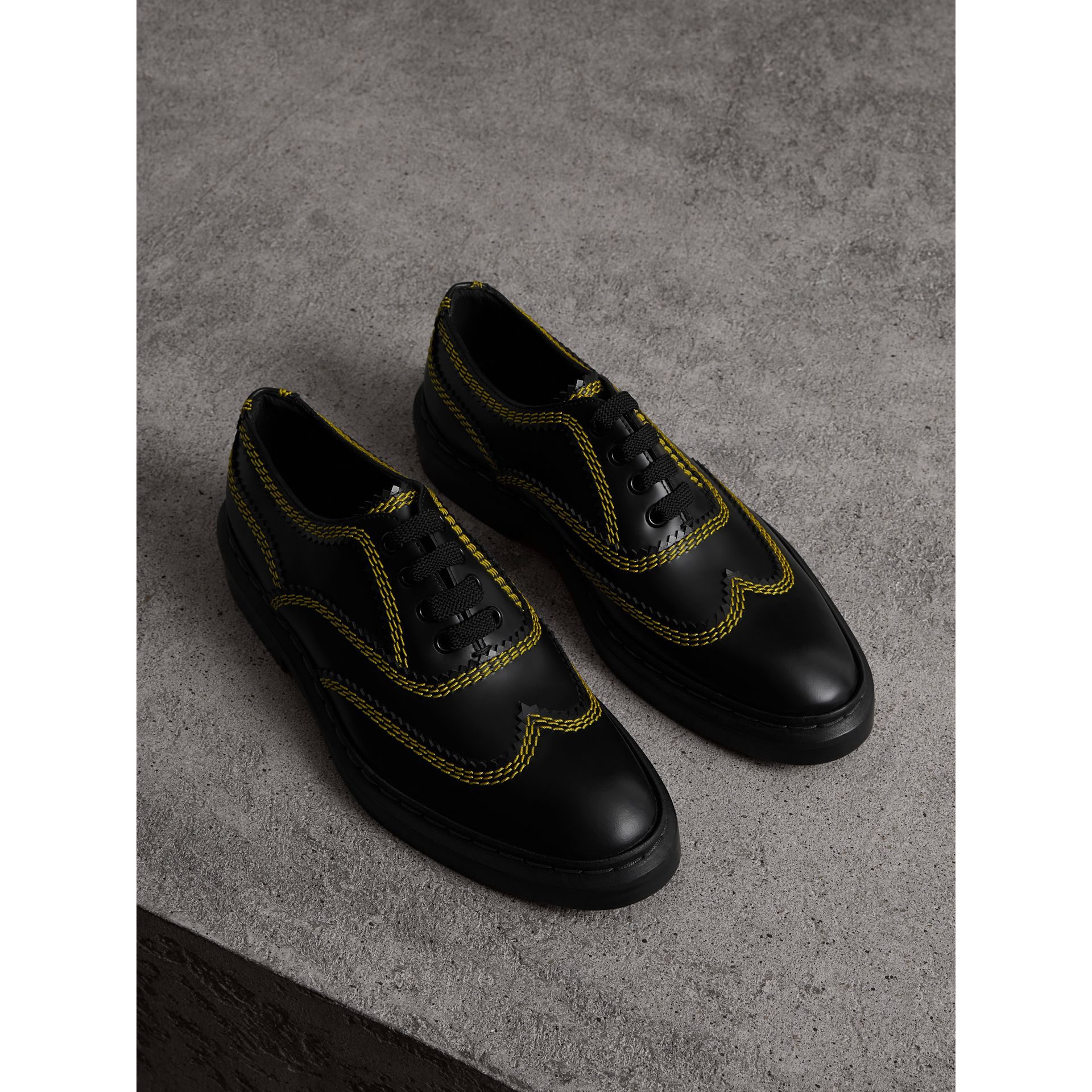 Topstitch Leather Lace-up Shoes in Black - Women | Burberry - gallery image 0