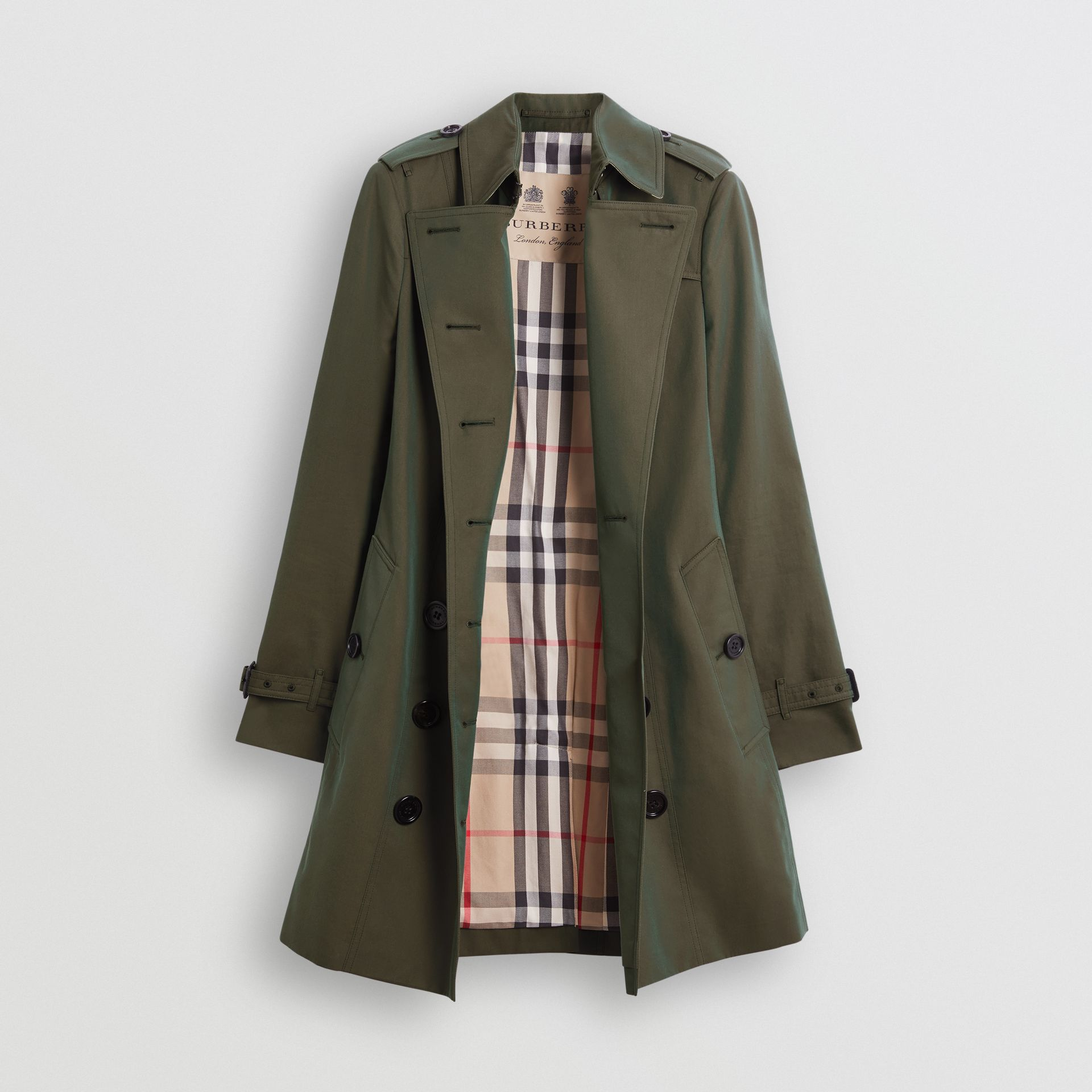 Sandringham Fit Cotton Gabardine Trench Coat in Dark Antique Green - Women | Burberry - gallery image 7