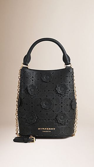 The Small Bucket Bag in Leather with Appliqué