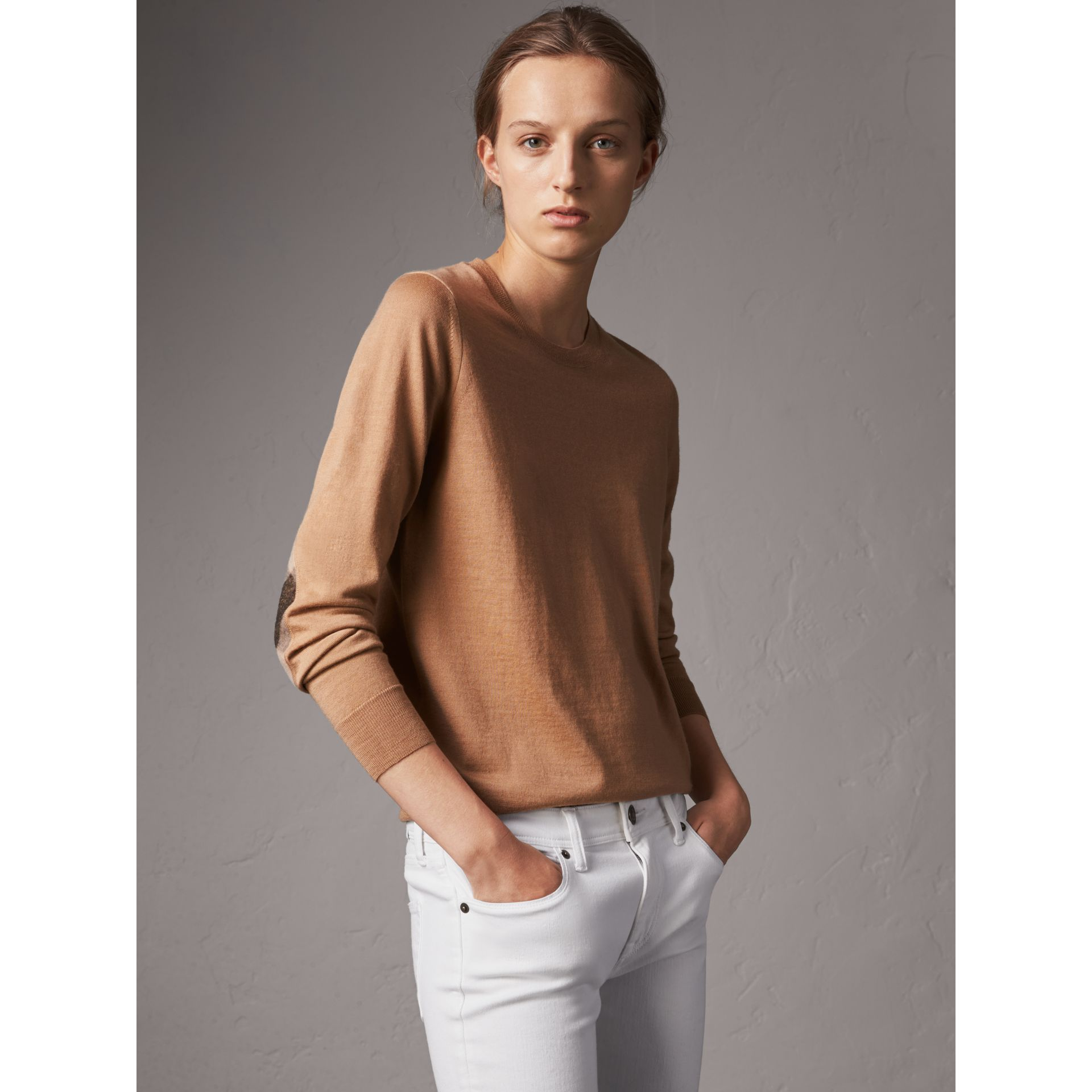 Check Detail Merino Wool Crew Neck Sweater in Camel - Women | Burberry - gallery image 1