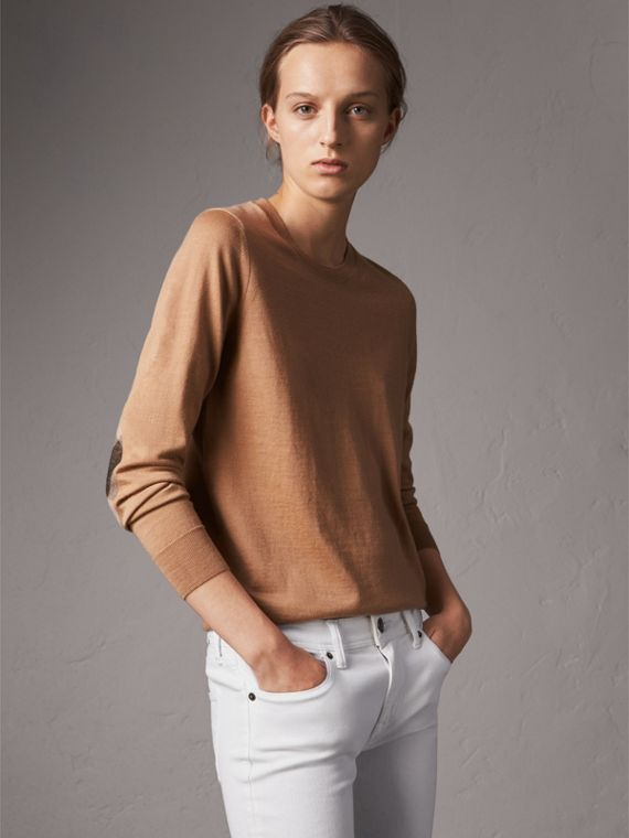 Check Detail Merino Wool Crew Neck Sweater in Camel