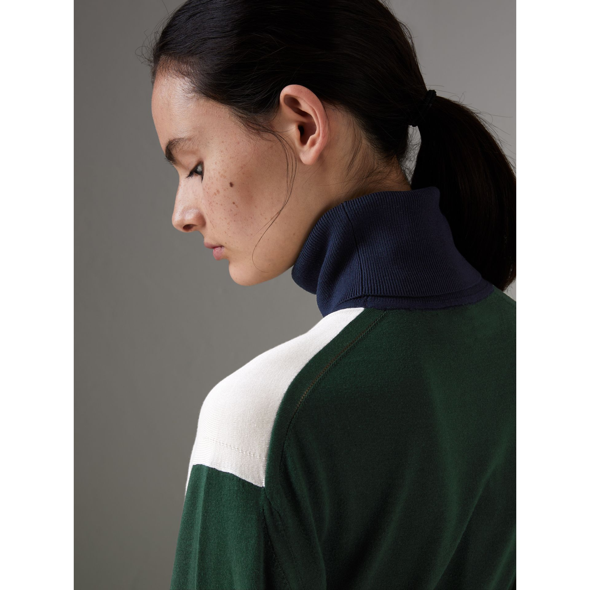 Colour Block Silk Cashmere Roll-neck Sweater in Natural White - Women | Burberry - gallery image 1