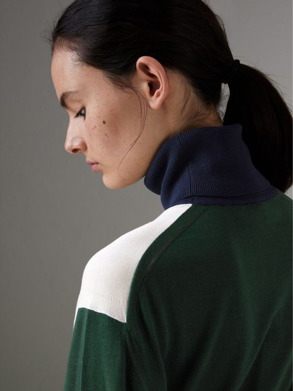 Colour Block Silk Cashmere Roll-neck Sweater in Natural White - Women | Burberry - cell image 1
