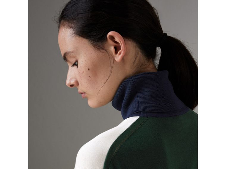 Colour-block Silk Cashmere Roll-neck Sweater in Natural White - Women | Burberry - cell image 1