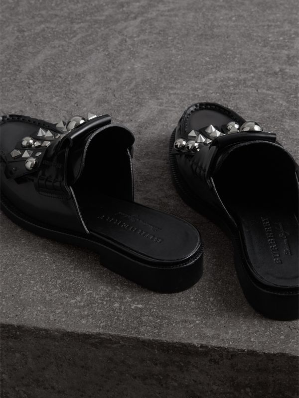 Studded Fringe Patent Leather Mules in Black - Women | Burberry Singapore - cell image 3
