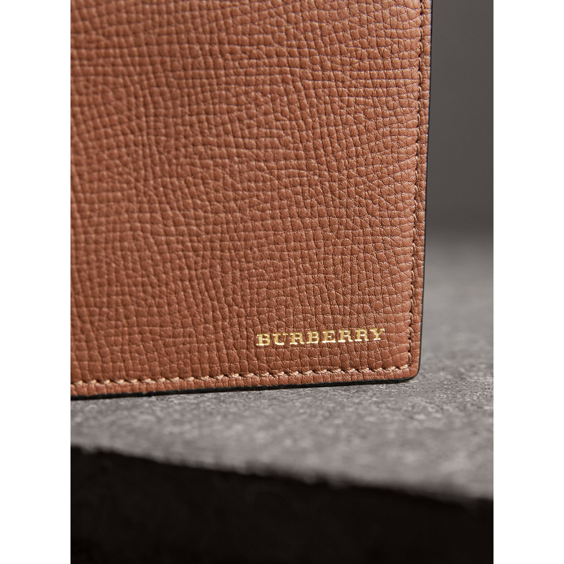 Leather and House Check International Bifold Wallet in Chestnut Brown | Burberry Australia - gallery image 1