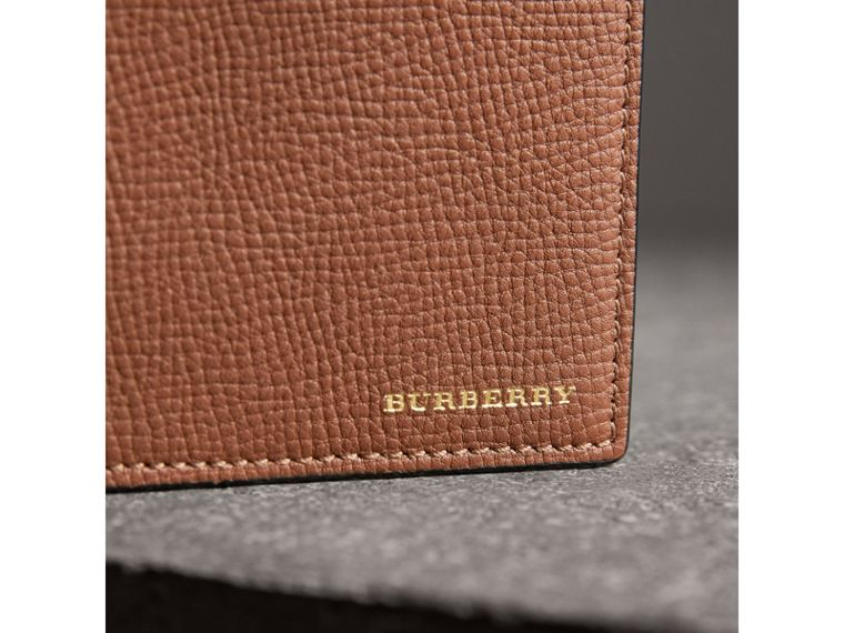 Leather and House Check International Bifold Wallet in Chestnut Brown - Men | Burberry - cell image 1