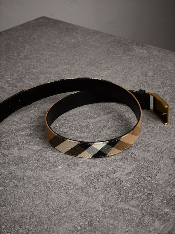 Plaque Buckle House Check and Leather Belt in Black - Men | Burberry - cell image 1