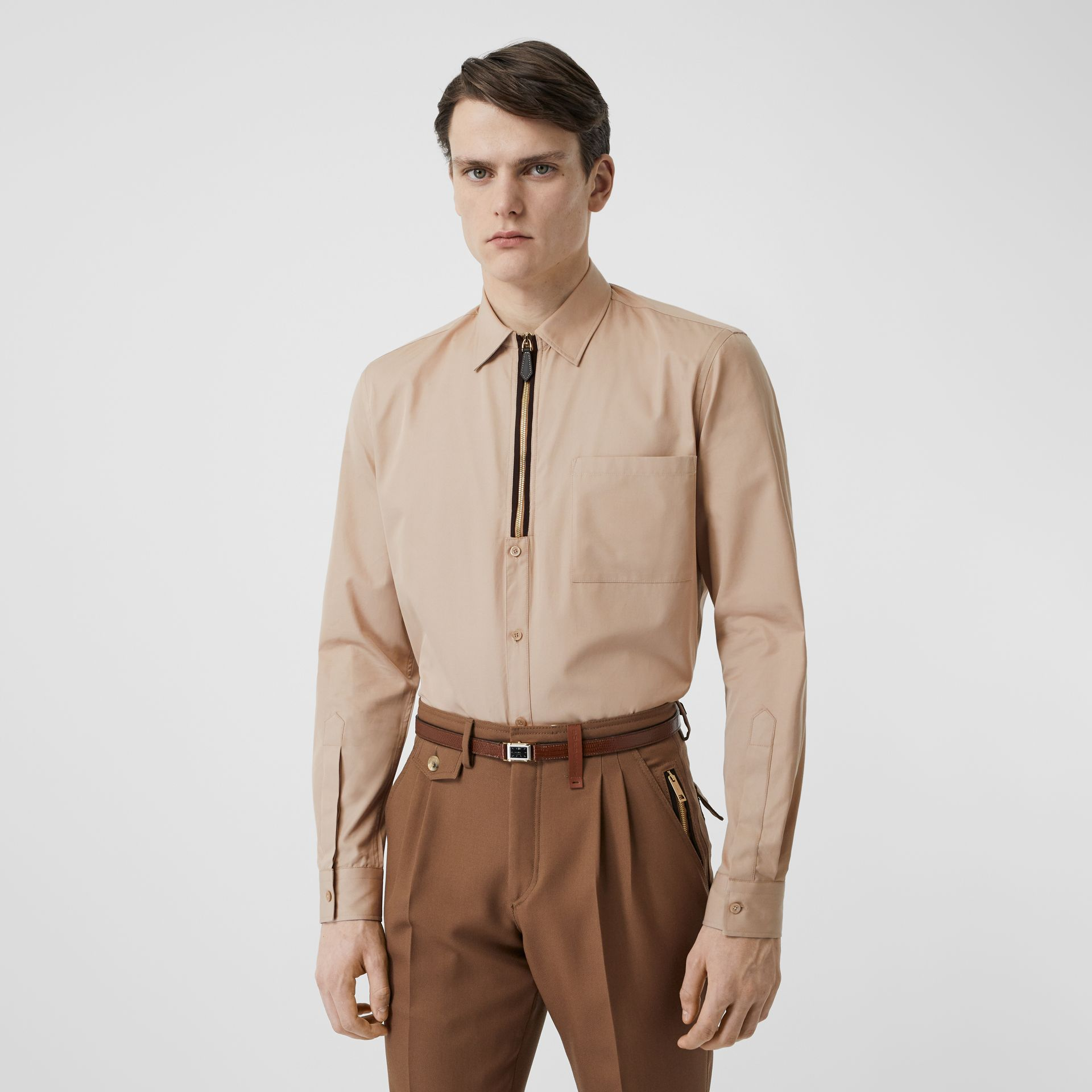 Classic Fit Zip Detail Cotton Twill Shirt in Soft Fawn - Men | Burberry - gallery image 0