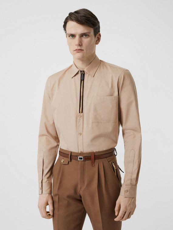 Classic Fit Zip Detail Cotton Twill Shirt in Soft Fawn