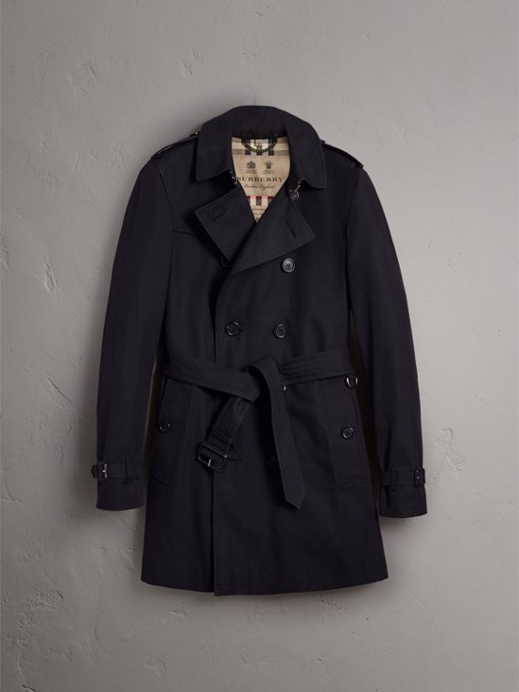 The Chelsea – Long Trench Coat in Navy - Men | Burberry Singapore - cell image 3