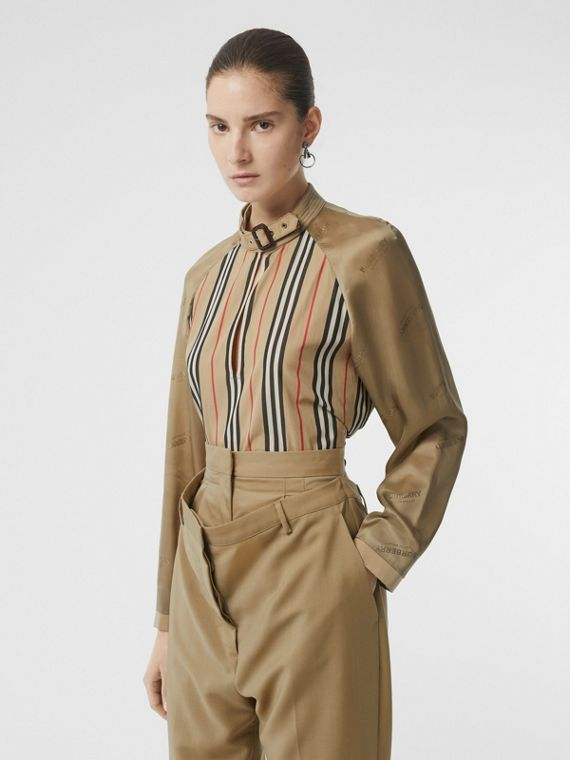 Cut-out Detail Icon Stripe Cotton Blouse in Archive Beige