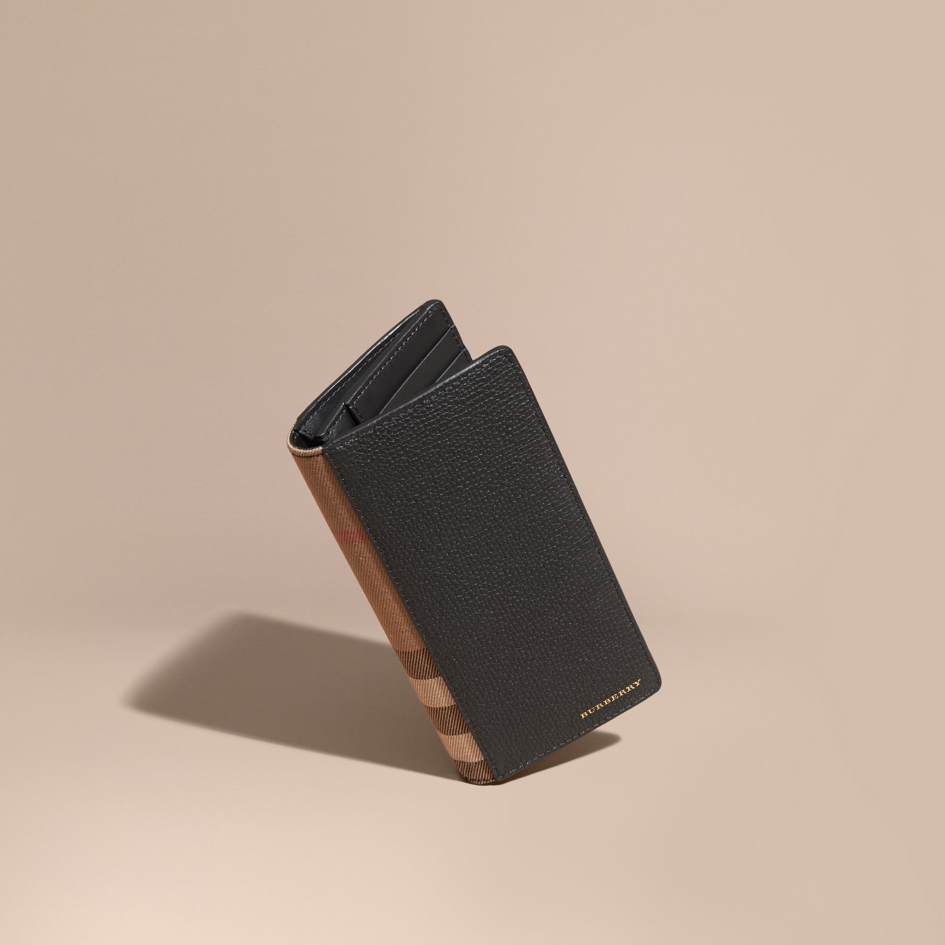 House Check and Grainy Leather Continental Wallet in Black - gallery image 1