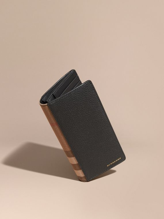 House Check and Grainy Leather Continental Wallet Black