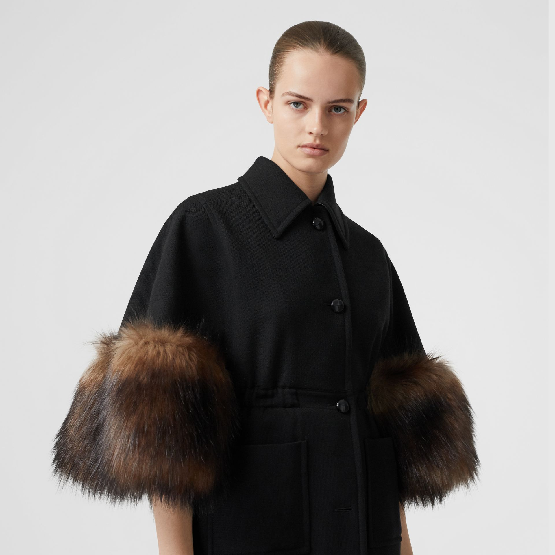 Faux Fur Trim Cape Detail Wool Blend Coat in Black - Women | Burberry - gallery image 1