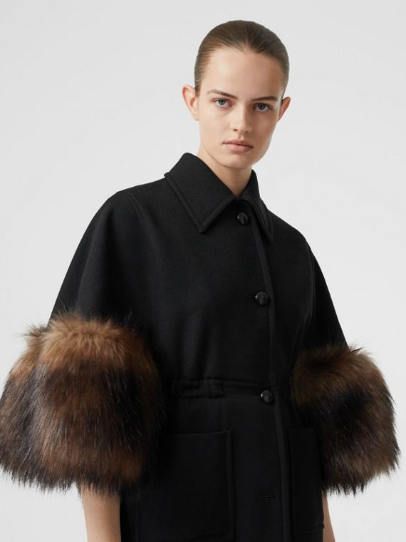 Faux Fur Trim Cape Detail Wool Blend Coat in Black
