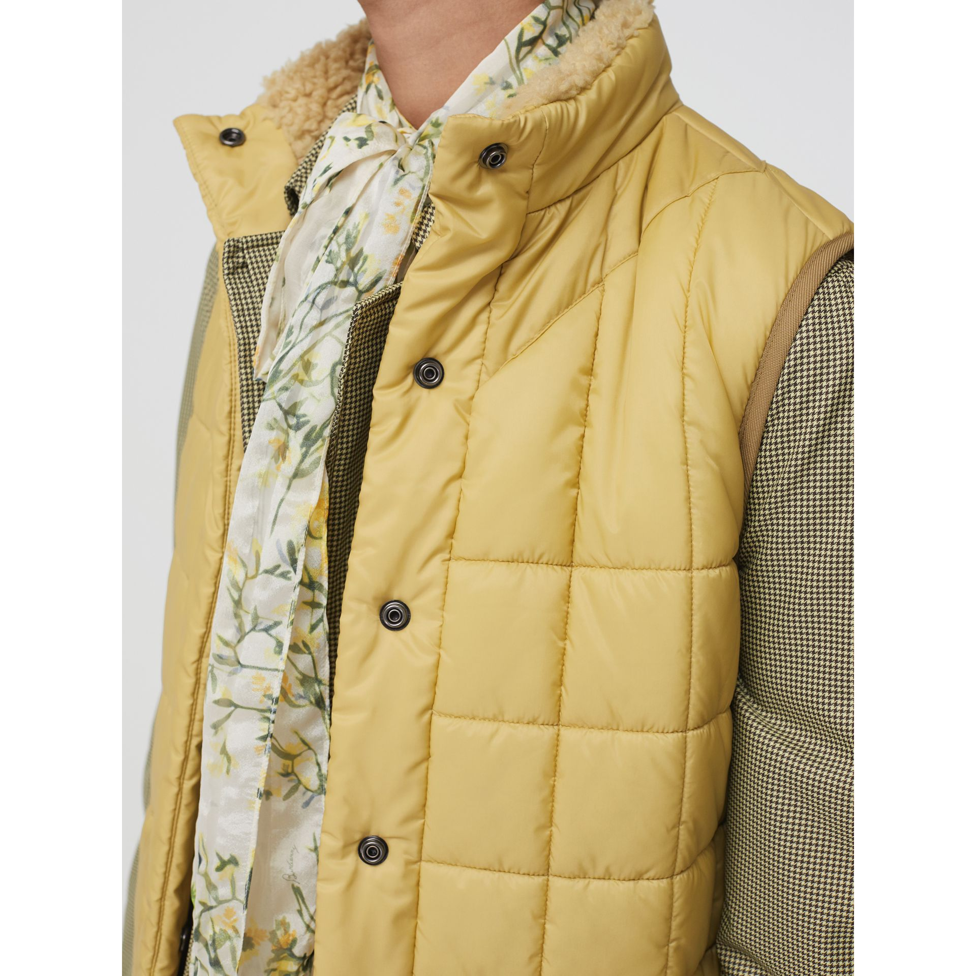 Faux Shearling Collar Lightweight Quilted Gilet in Yellow Quartz - Women | Burberry Australia - gallery image 1