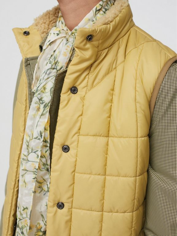 Faux Shearling Collar Lightweight Quilted Gilet in Yellow Quartz - Women | Burberry - cell image 1