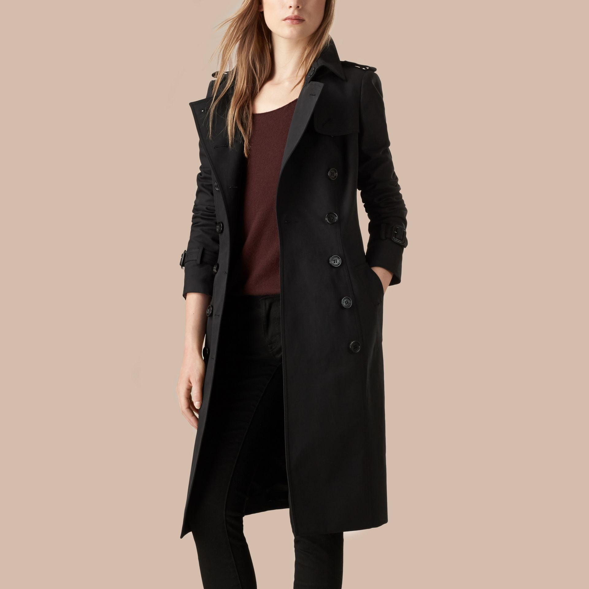 Black Cotton Gabardine Trench Coat Black - gallery image 3