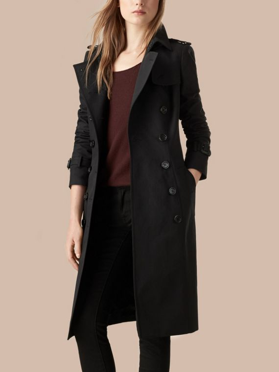 Black Cotton Gabardine Trench Coat Black - cell image 2