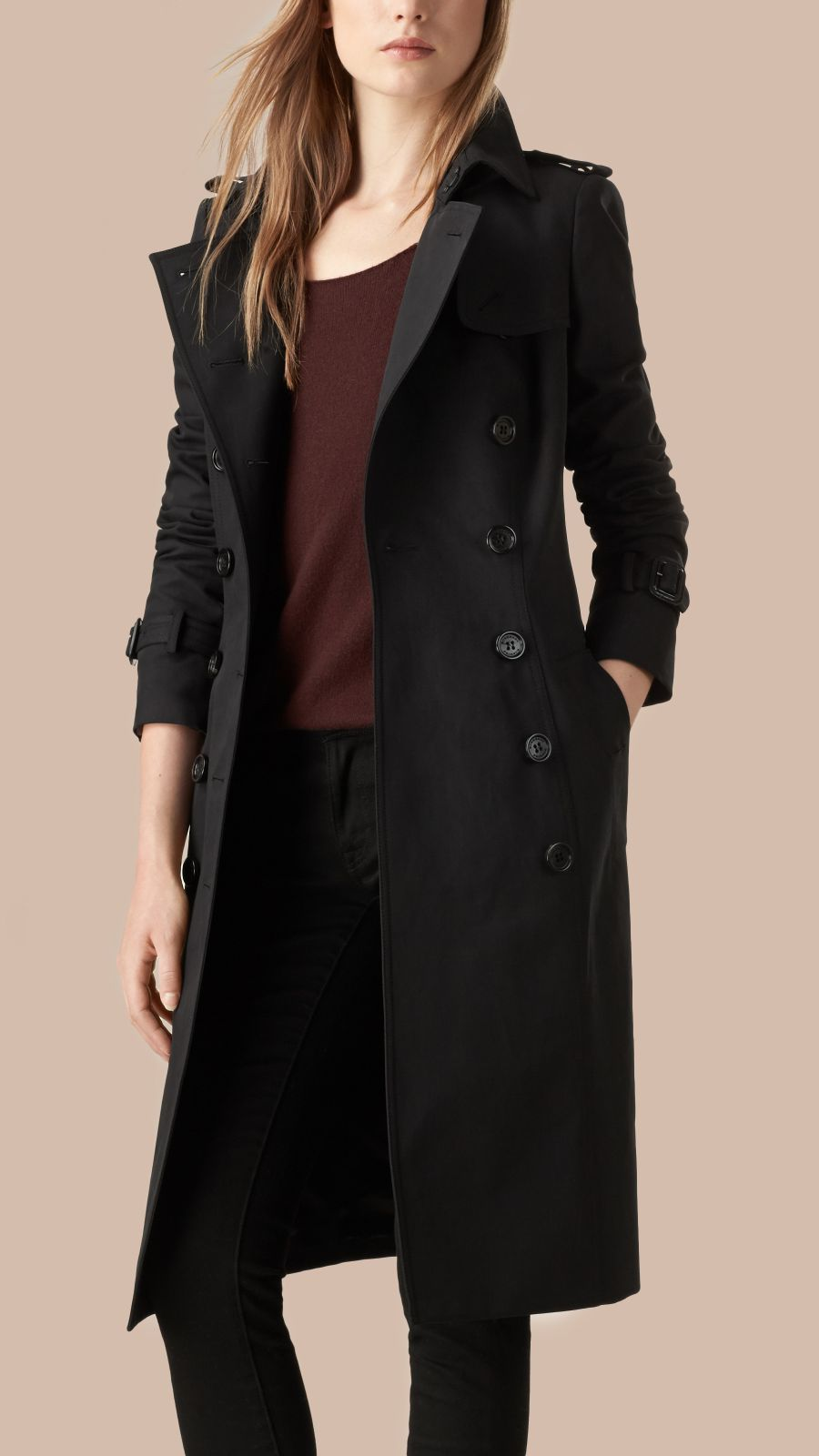 Black Cotton Gabardine Trench Coat Black - Image 3
