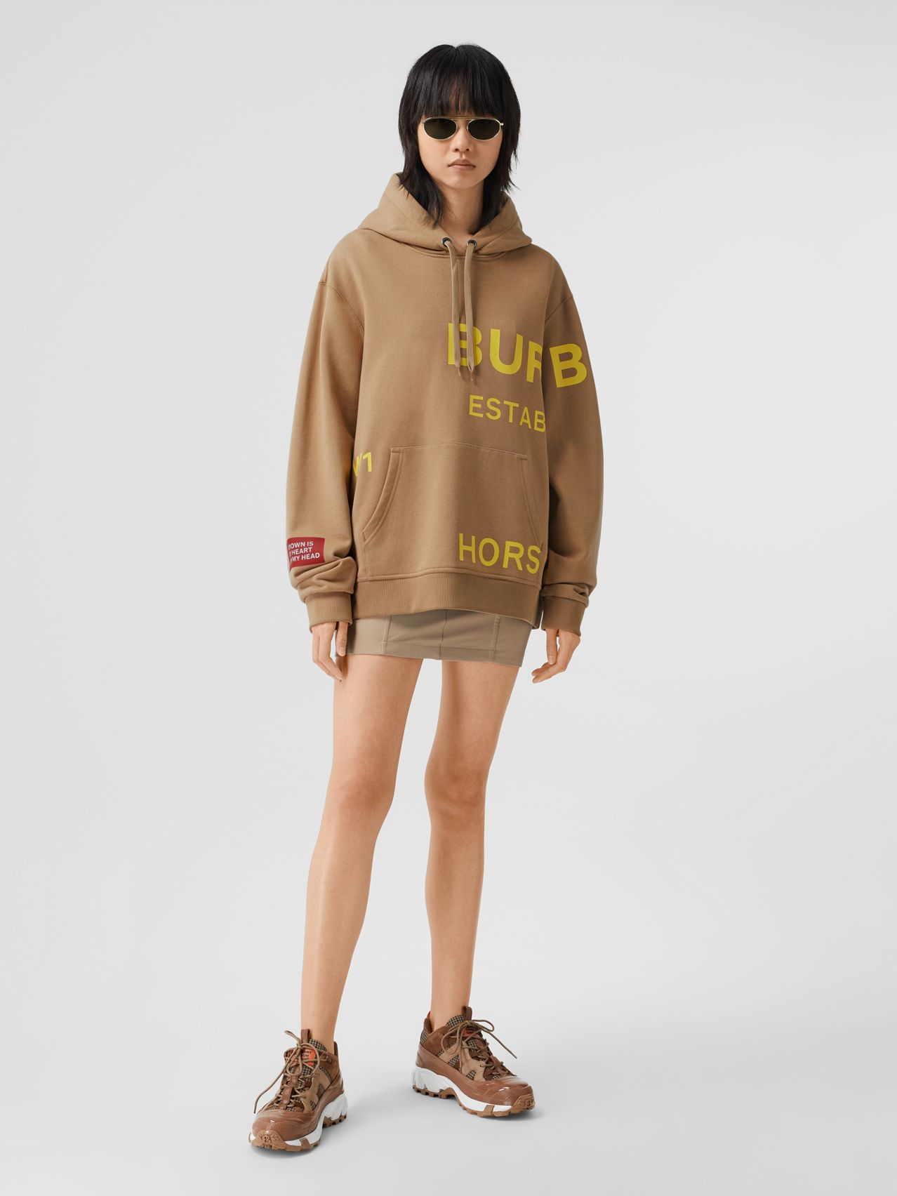 Horseferry Print Cotton Oversized Hoodie by Burberry, available on burberry.com for $540 Kendall Jenner Top SIMILAR PRODUCT