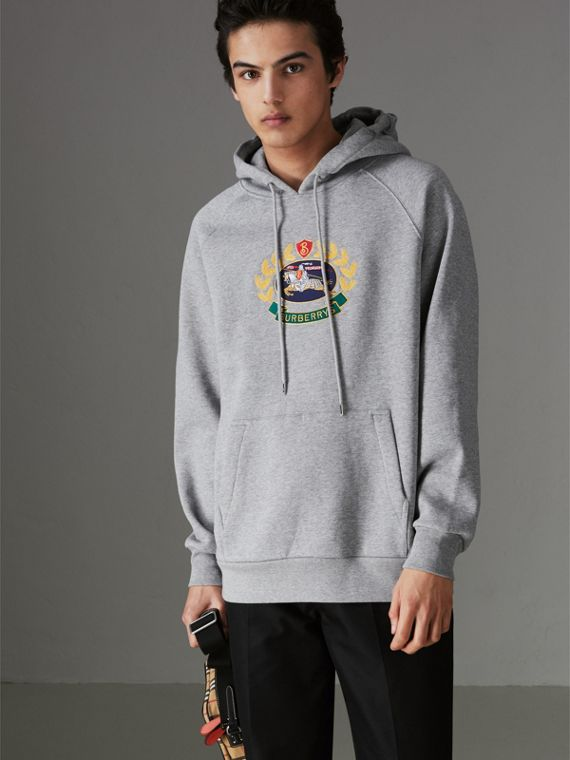 Embroidered Archive Logo Jersey Hoodie in Pale Grey Melange