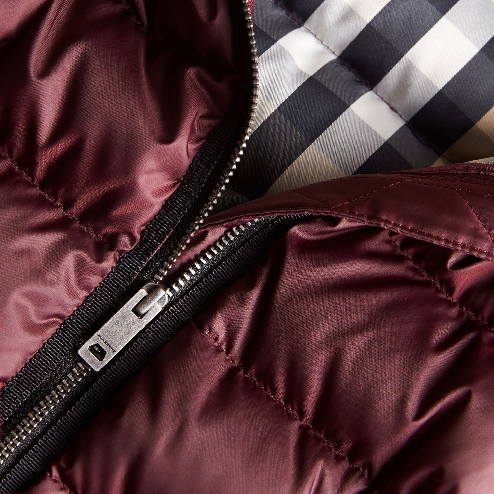 Bow Detail Down-filled Coat in Dark Plum | Burberry - gallery image 1