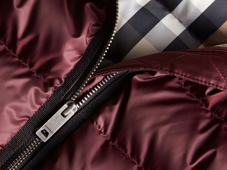 Bow Detail Down-filled Coat in Dark Plum | Burberry - cell image 1