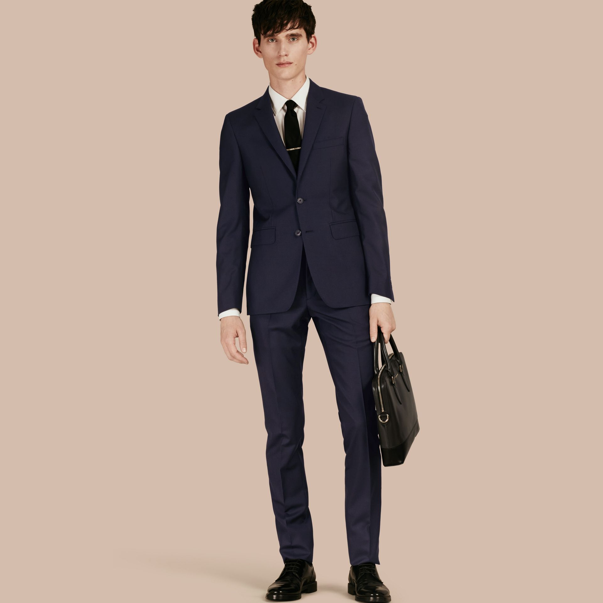 Navy Slim Fit Wool Part-canvas Suit Navy - gallery image 1