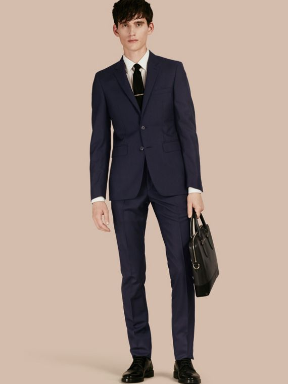 Slim Fit Wool Part-canvas Suit Navy