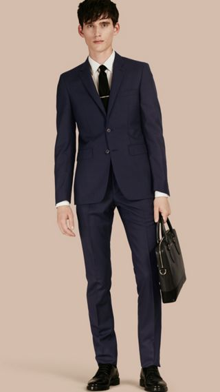 Slim Fit Wool Part-canvas Suit