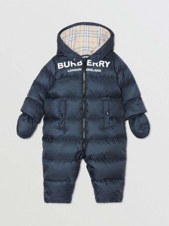 Logo Print Down-filled Puffer Suit in Navy