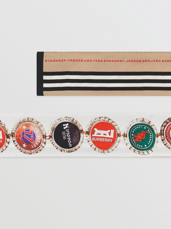 Bottle Cap and Icon Stripe Print Silk Skinny Scarf in White   Burberry United States - cell image 1