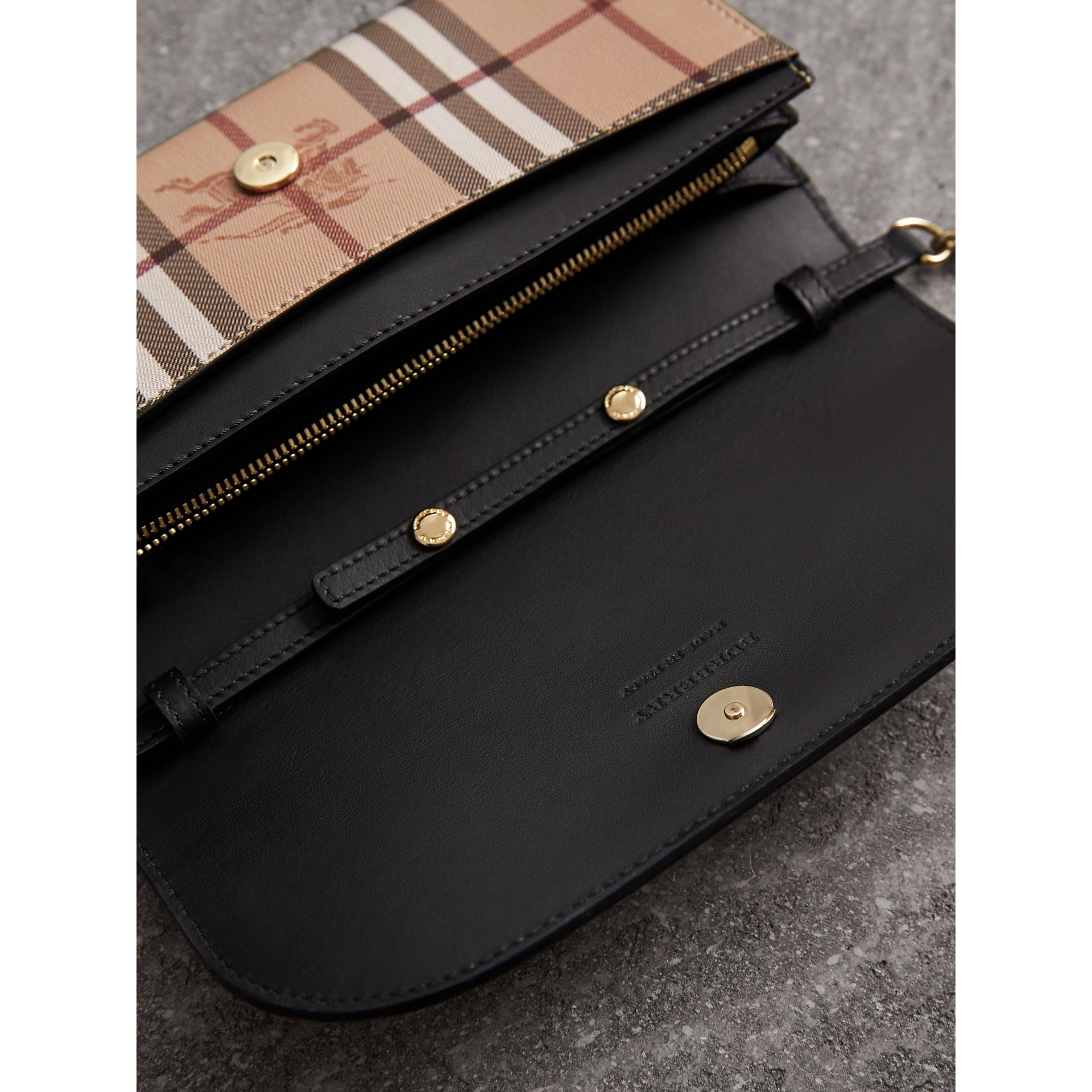 Leather Trim Haymarket Check Wallet with Chain in Black - Women | Burberry - gallery image 4