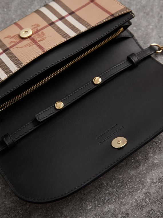Leather Trim Haymarket Check Wallet with Chain in Black - Women | Burberry - cell image 3