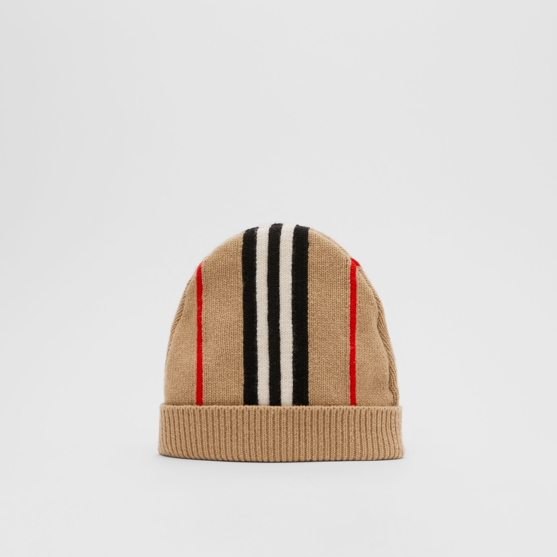 Icon Stripe Cashmere Wool Beanie in Archive Beige - Children | Burberry United Kingdom - gallery image 0