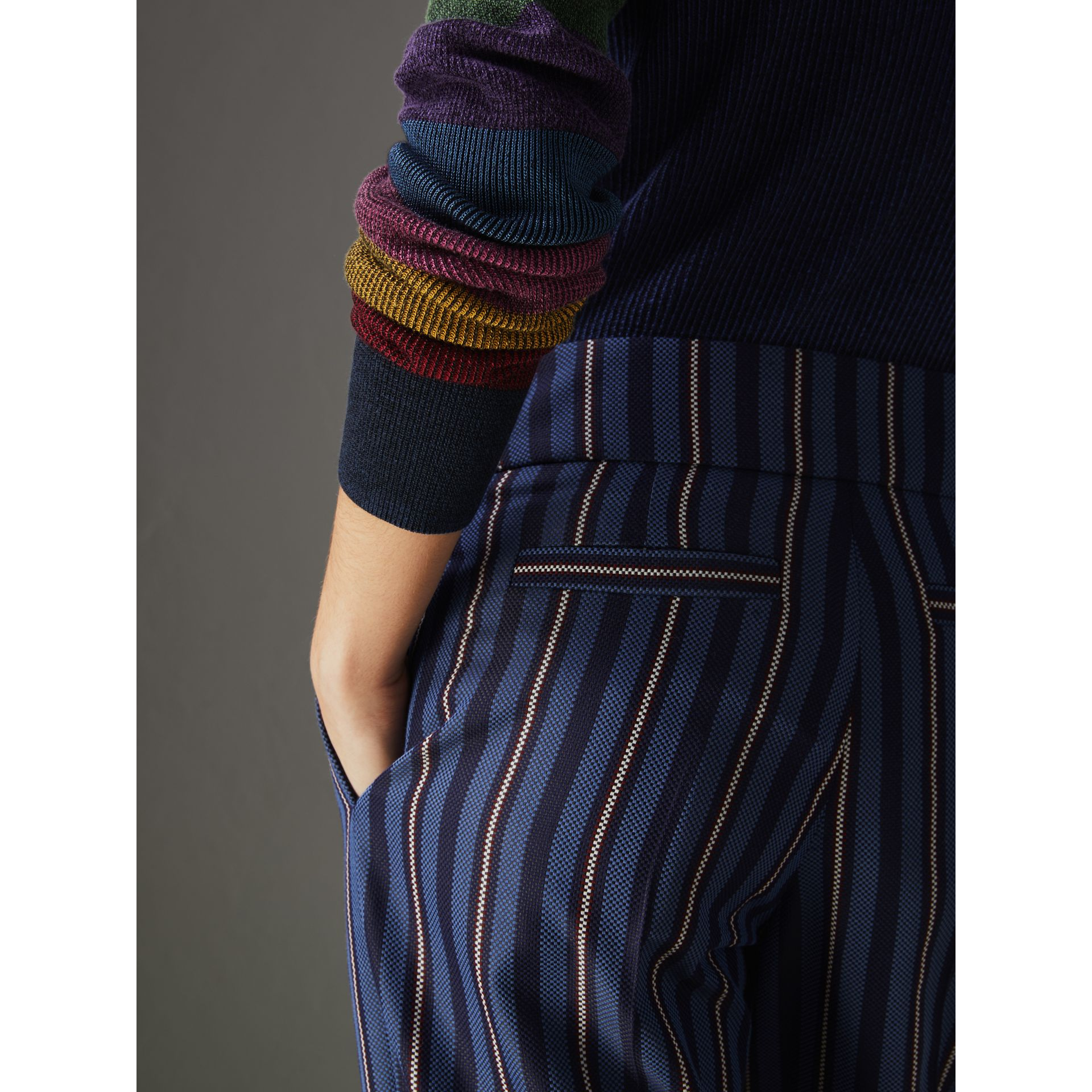 Striped Wool Blend Cropped Trousers in Navy/light Blue - Women | Burberry United States - gallery image 1