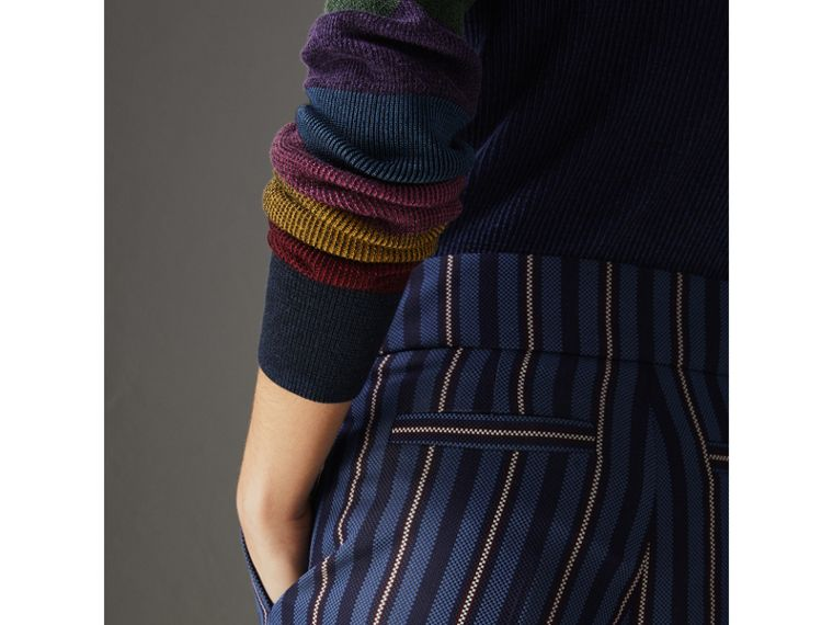 Striped Wool Blend Cropped Trousers in Navy/light Blue - Women | Burberry - cell image 1