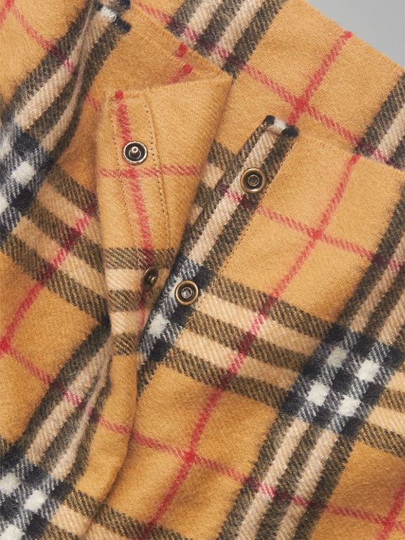 Vintage Check Cashmere Snood in Antique Yellow | Burberry Australia - cell image 1