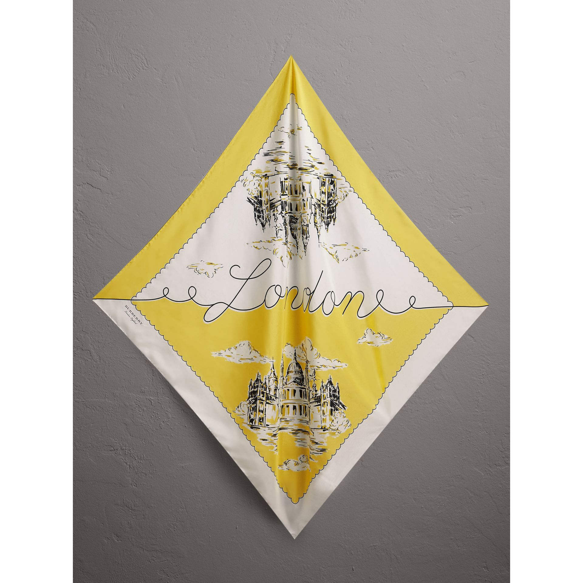 London Print Silk Square Scarf in Bright Yellow - Women | Burberry Canada - gallery image 0