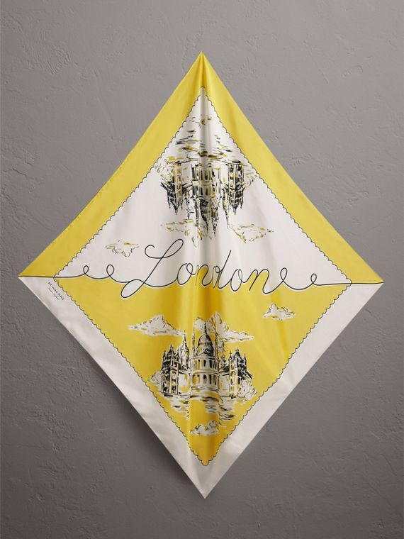 London Print Silk Square Scarf in Bright Yellow