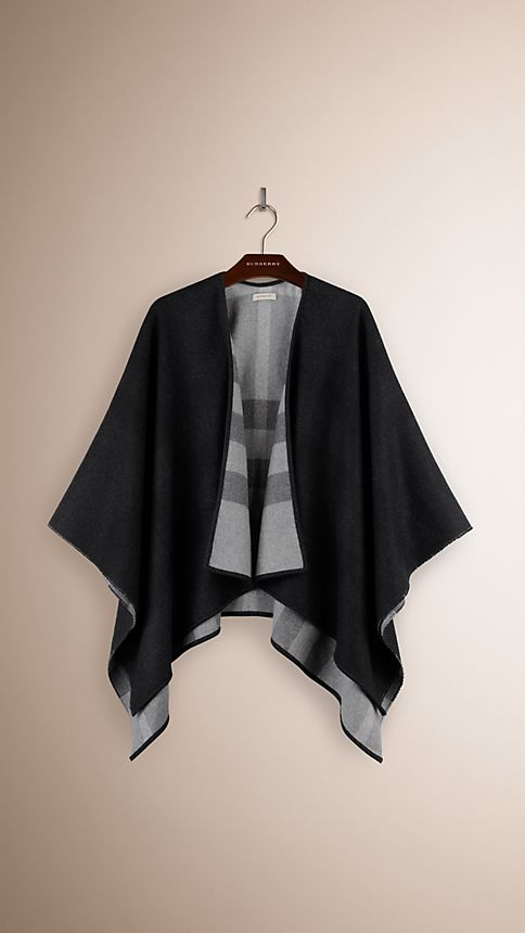 Charcoal check Check-Lined Wool Poncho - Image 3